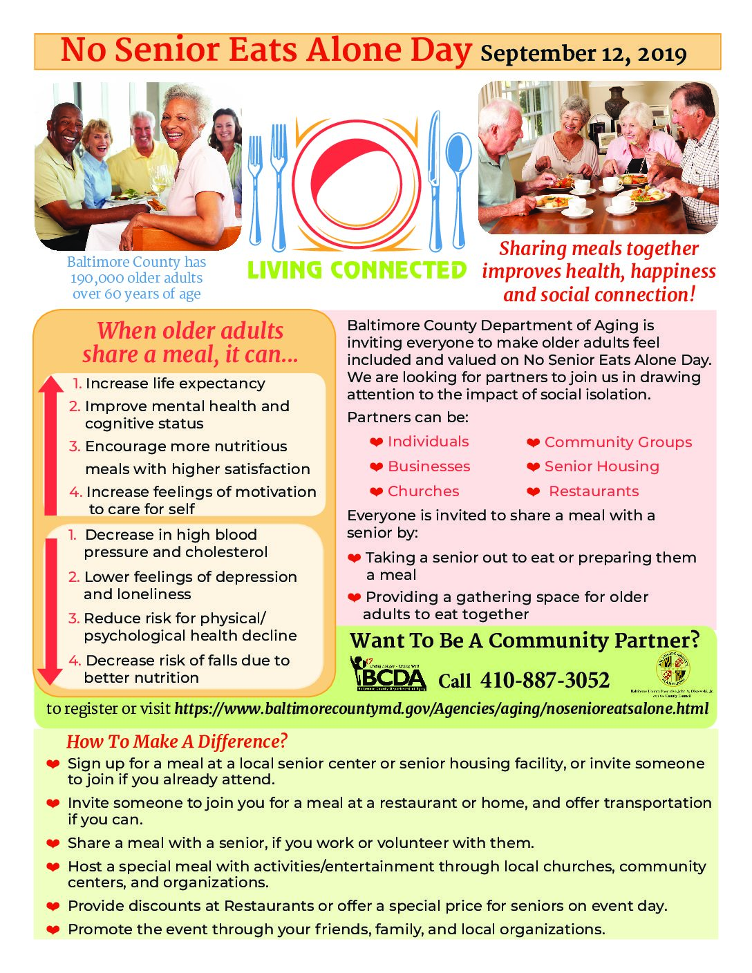 No Senior Eats Alone Day Flier